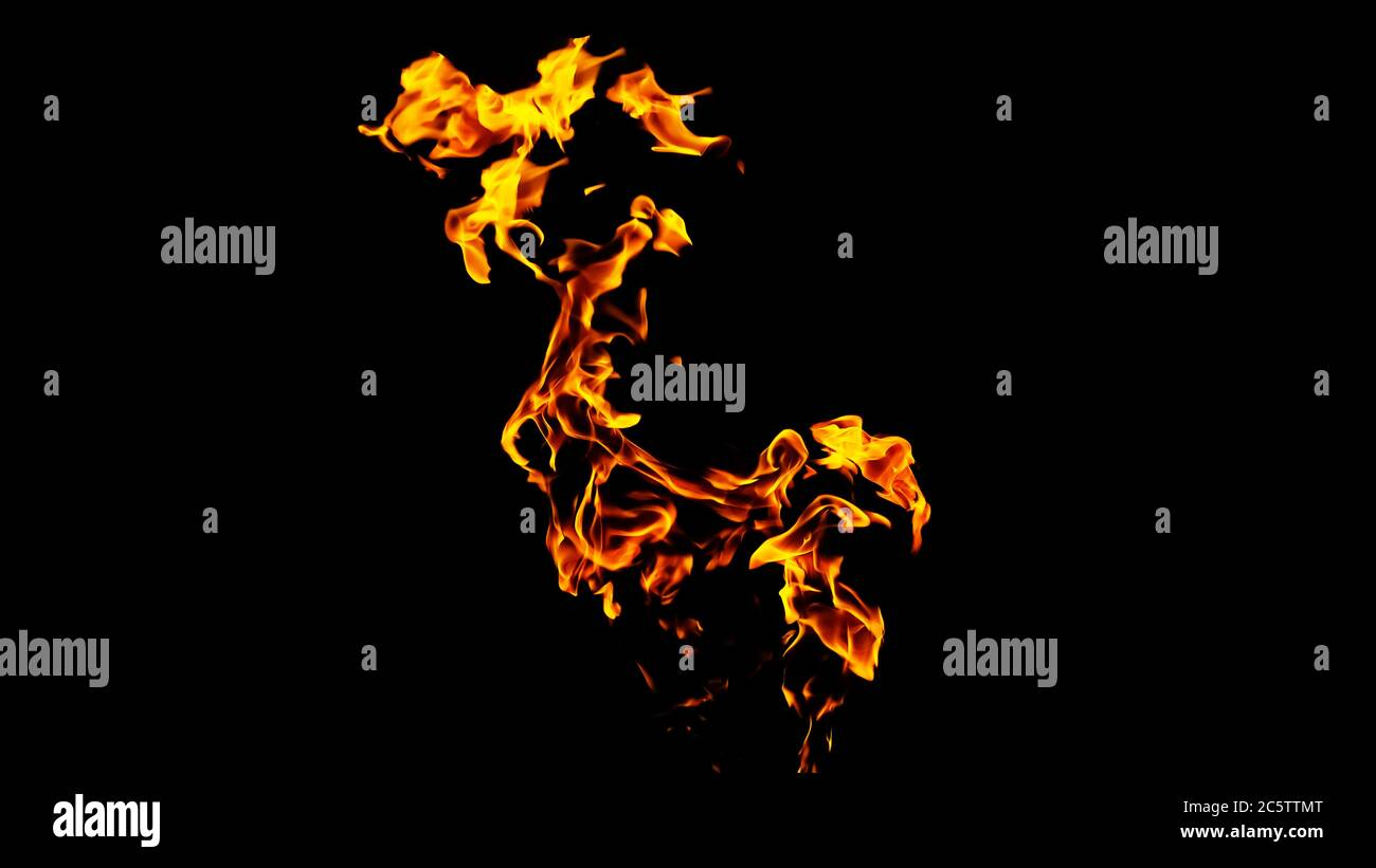 Fire flames on black background isolated. Burning gas or gasoline burns with fire and flames. Flaming burning sparks close-up, fire patterns. Infernal Stock Photo