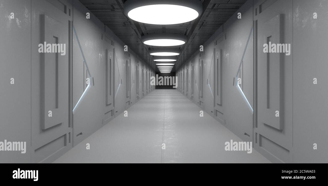 3d render. Futuristic spaceship scifi corridor architecture Stock Photo