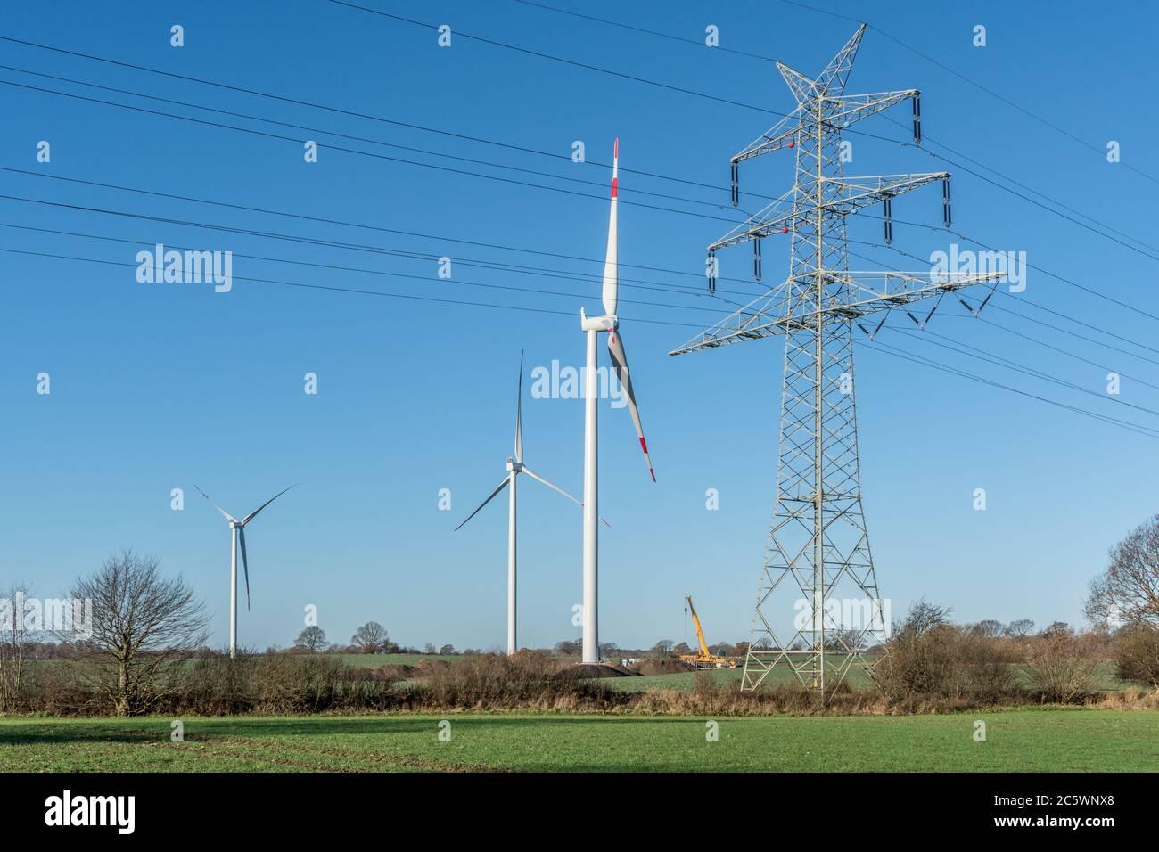 Ein Windpark entsteht Stock Photo