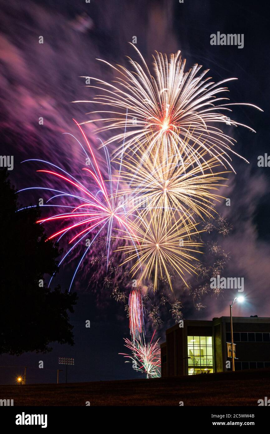 Fireworks over Missouri Southern State University in Joplin, Missouri on July 4, 2020 Stock Photo