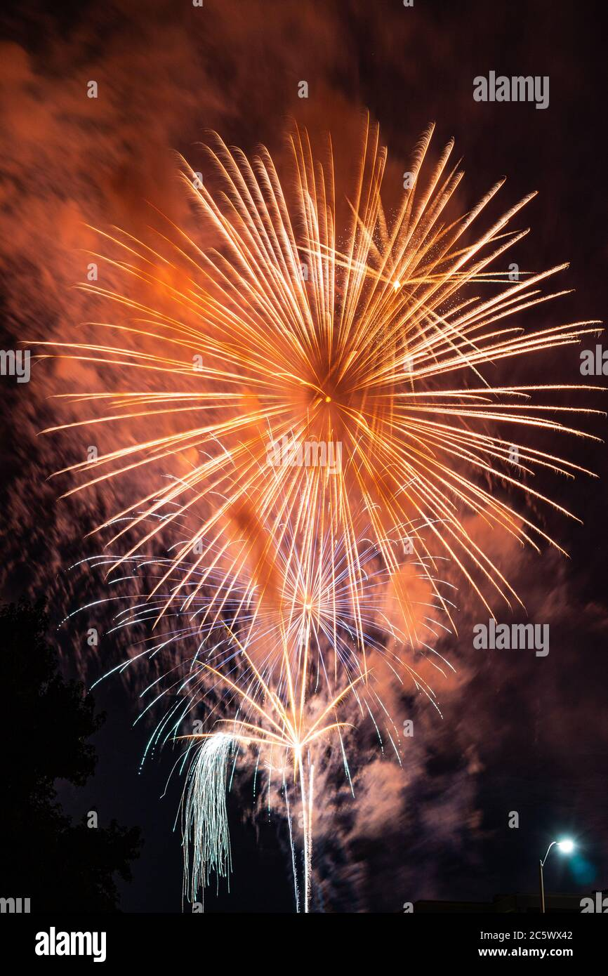 Fireworks over Missouri Southern State University in Joplin, Missouri on July 4, 2020 Stock Photo