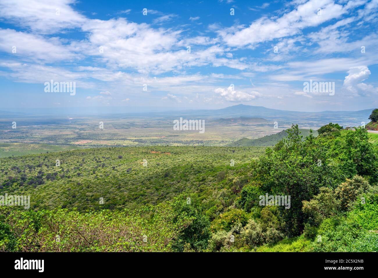 View over the Great Rift Valley from the Kamandura-Mai Mahiu-Narok Rd (B3), Kenya, East Africa Stock Photo