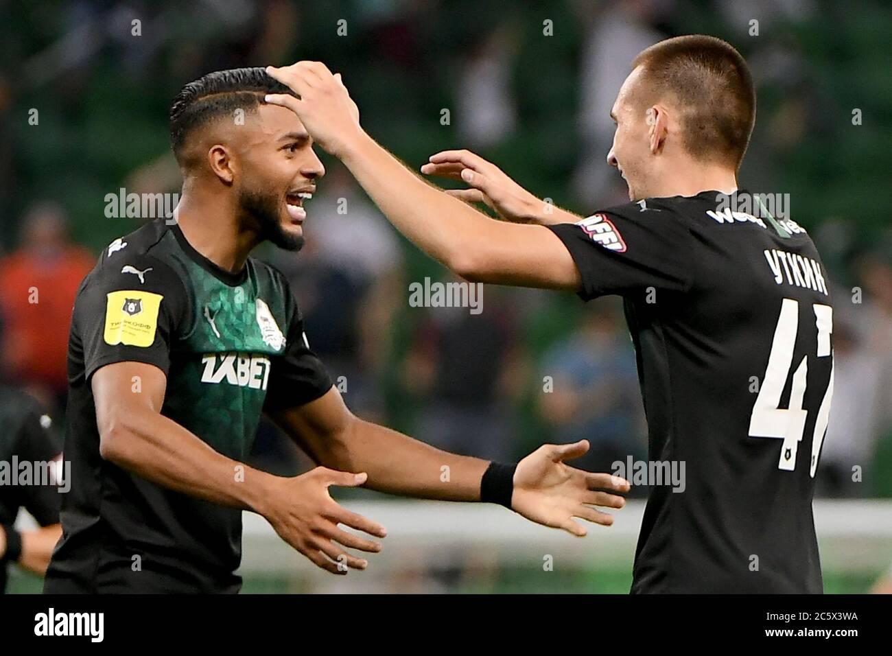 Krasnodar Russia 5th July 2020 Fc Krasnodar S Wanderson L And Daniil Utkin Celebrate A Goal In