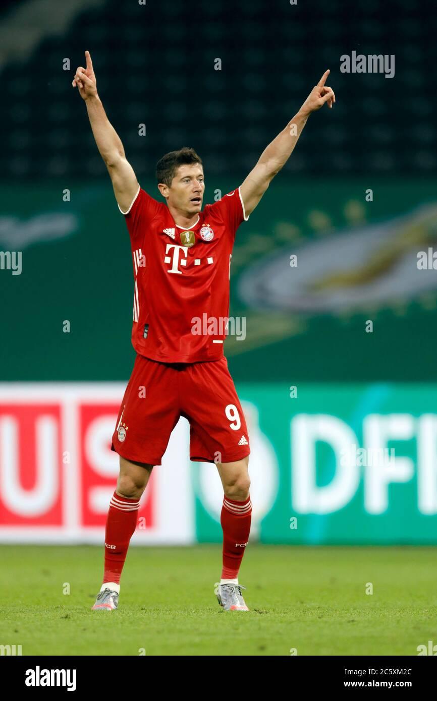 Berlin Germany 4 Th July 2020 Robert Lewandowski Fcb 9 Scores Shoots Goal For 3 0 At The Dfb Pokal Final Match Fc Bayern Muenchen Bayer 04 Leverkusen 4 2 In Season 2019 2020