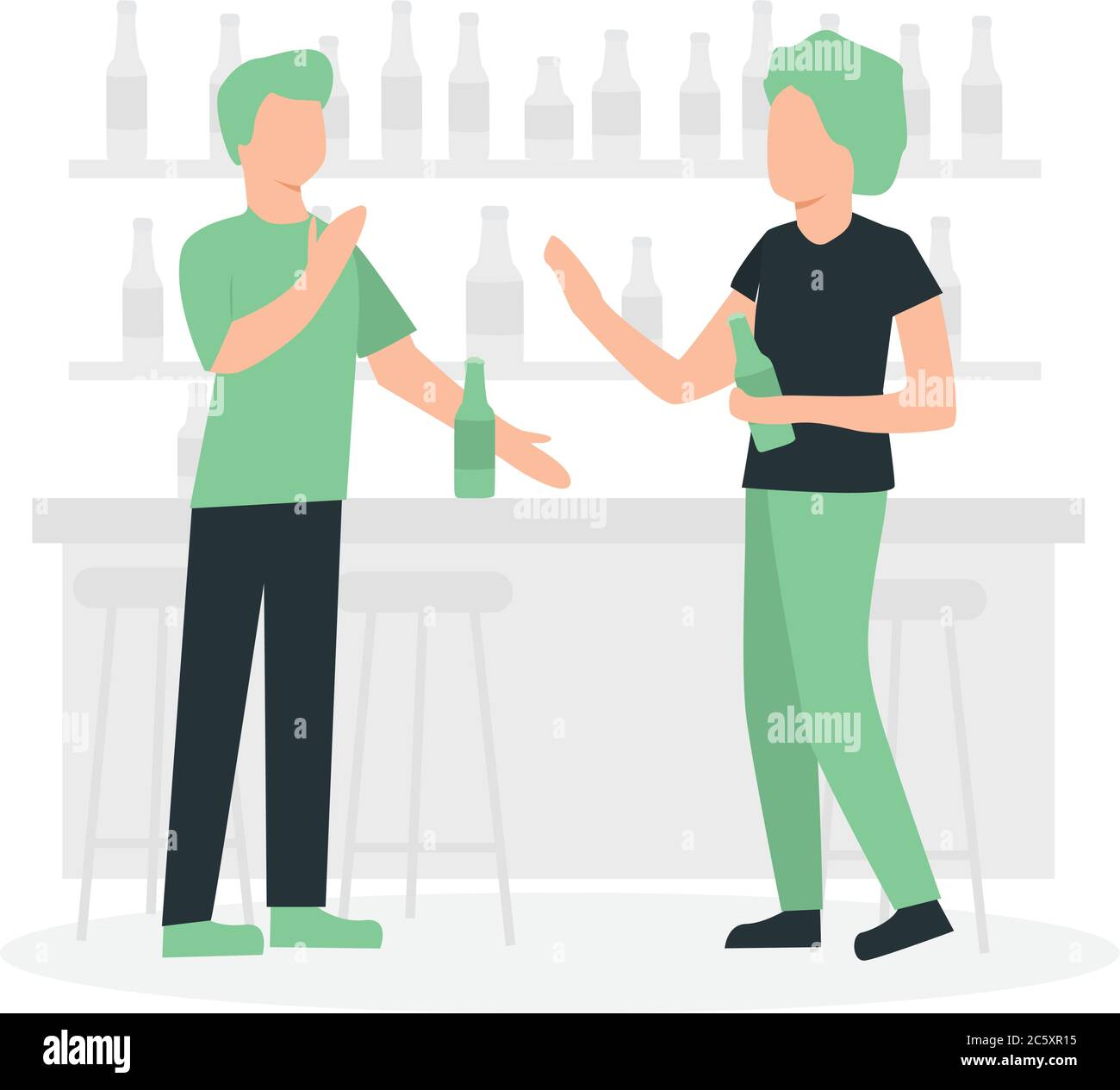 Two men talking in the pub Stock Vector