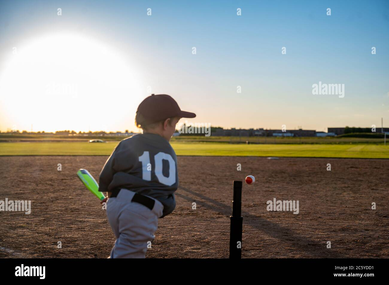 Tee ball sport played by youth groups in the summer Stock Photo