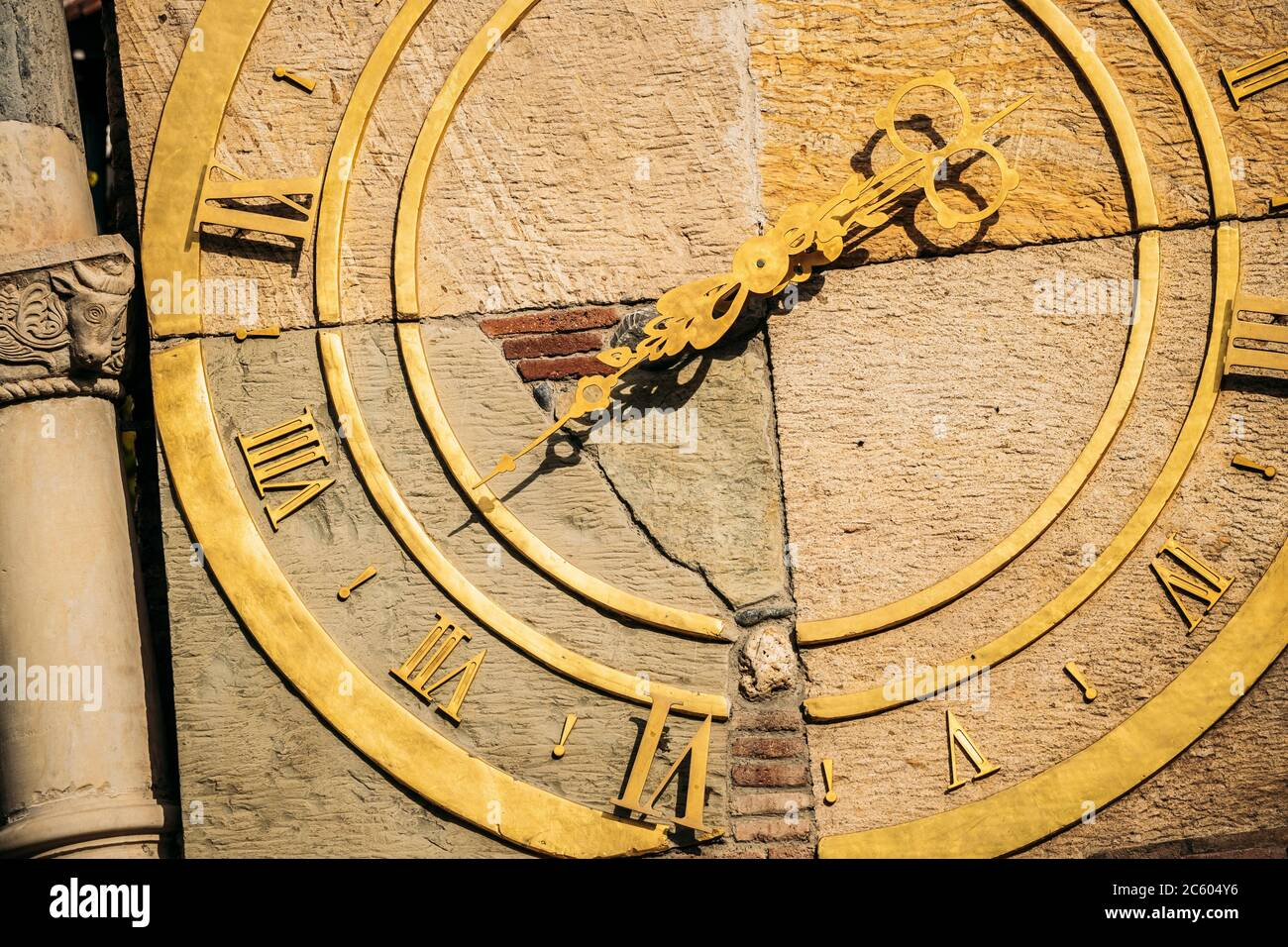 Tbilisi, Georgia. Close Up Details Of Famous Rezo Gabriadze Marionette Theater Clock Tower On Old City. Puppet Theater Museum In Tbilisi, Georgia, Stock Photo