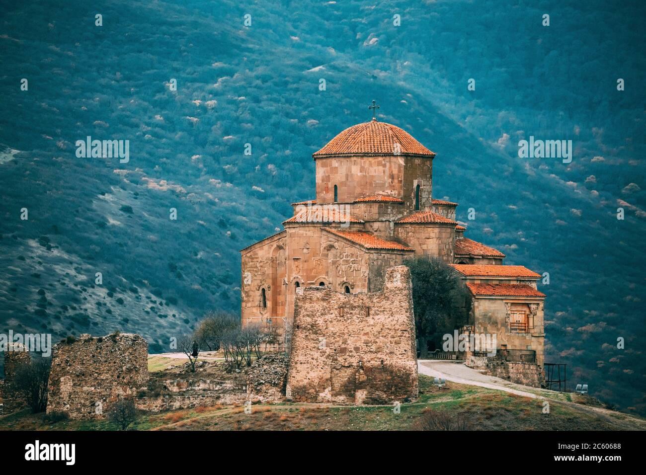 Mtskheta, Georgia. Close View Jvari, Georgian Orthodox Monastery, World Heritage By UNESCO. Ancient Temple. Stock Photo