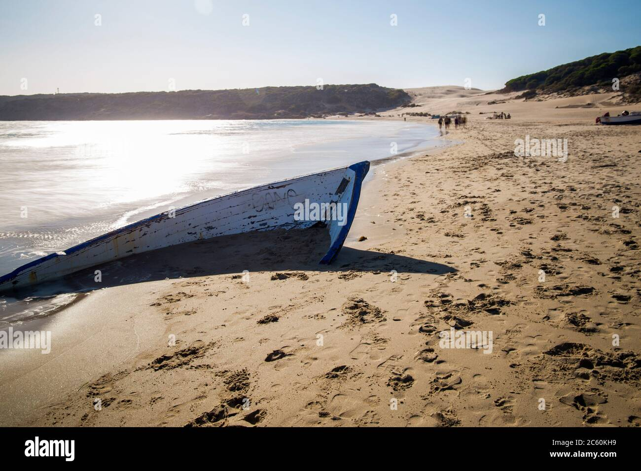 Patera, ruined boat in Bolonia beach in Cadiz province Andalusia Spain. Stock Photo