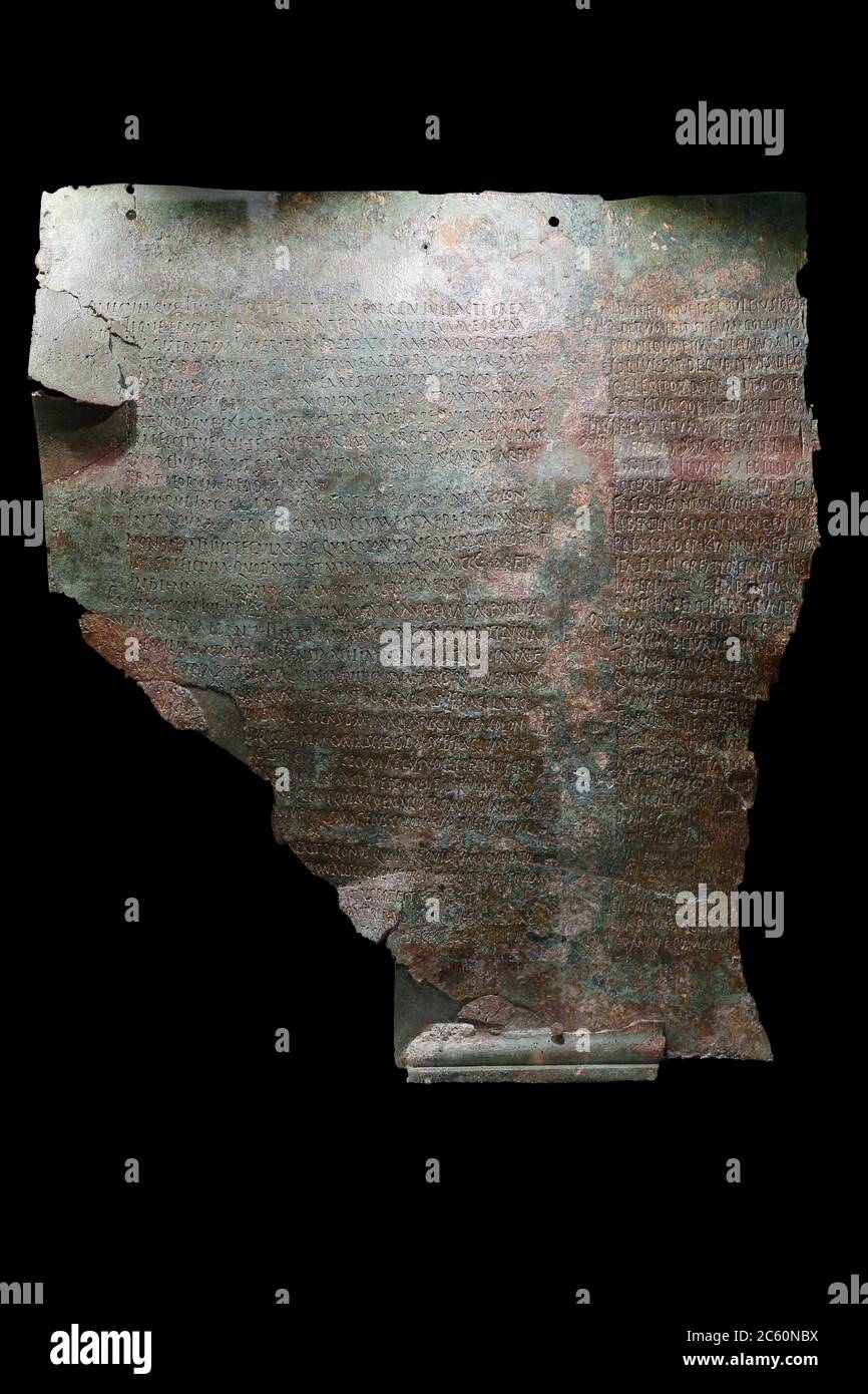 Seville, Spain - July 7th, 2018: Legal table of Osuna, former Urso. Lex Coloniae Genetivae iuliae. Archaeological Museum of Seville, Andalusia, Spain. Stock Photo