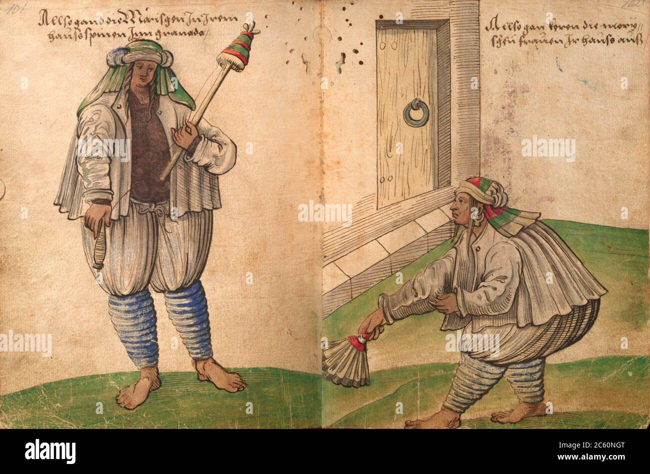 Moriscos women spinning and sweeping at home. Draw from Trachtenbuch by Christoph Weiditz, 1530. Nuremberg Germanisches Nationalmuseum. Stock Photo