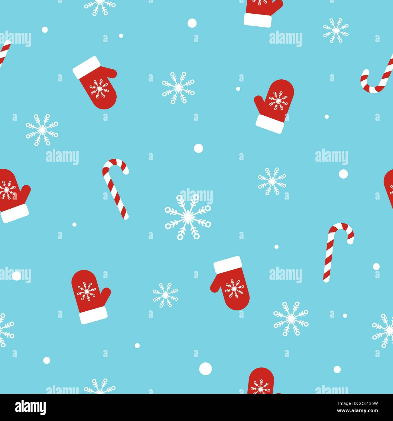 christmas seamless pattern with mittens candy canes snowflakes and snowballs on blue background unique hand drawn winter design vector 2C6135W