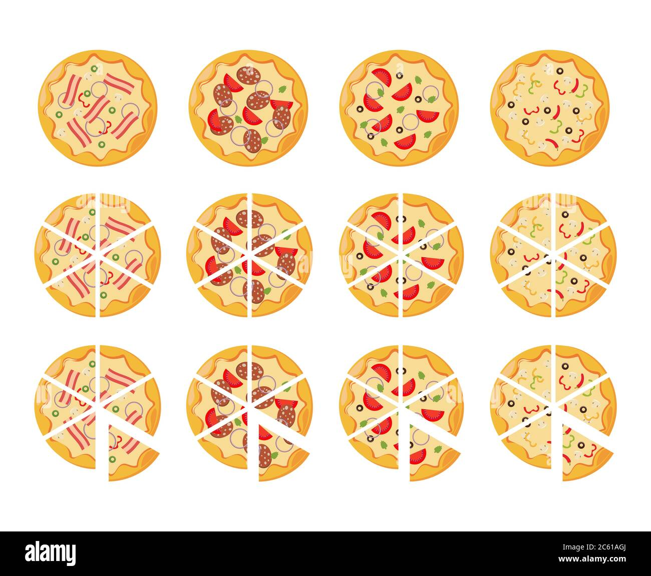 set of flat pizza icons isolated on white Stock Vector