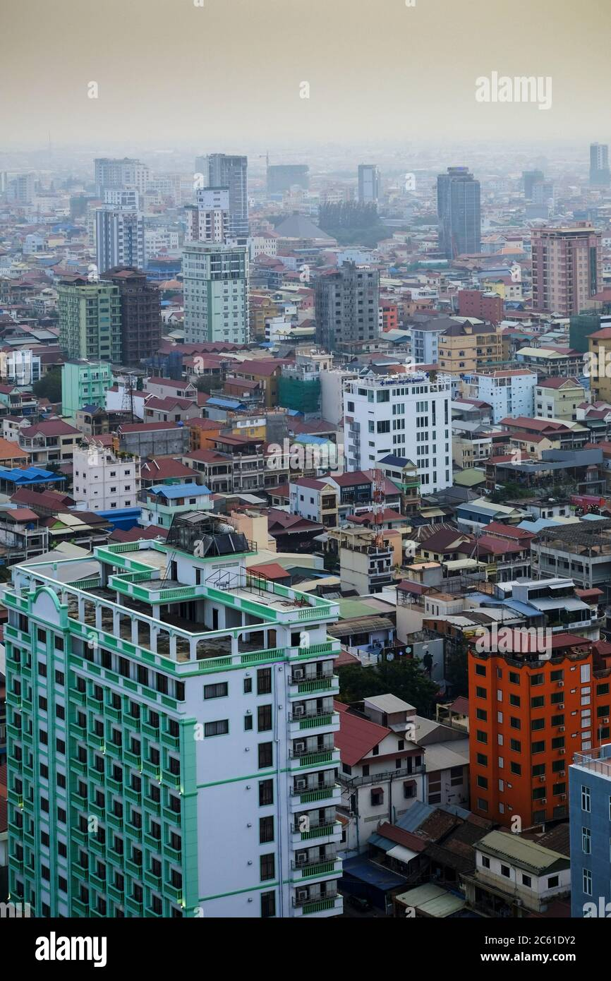 Southeast Asia, Cambodia, Phnom Penh. The skyline of Cambodia's capital showing construction and new business buildings Stock Photo