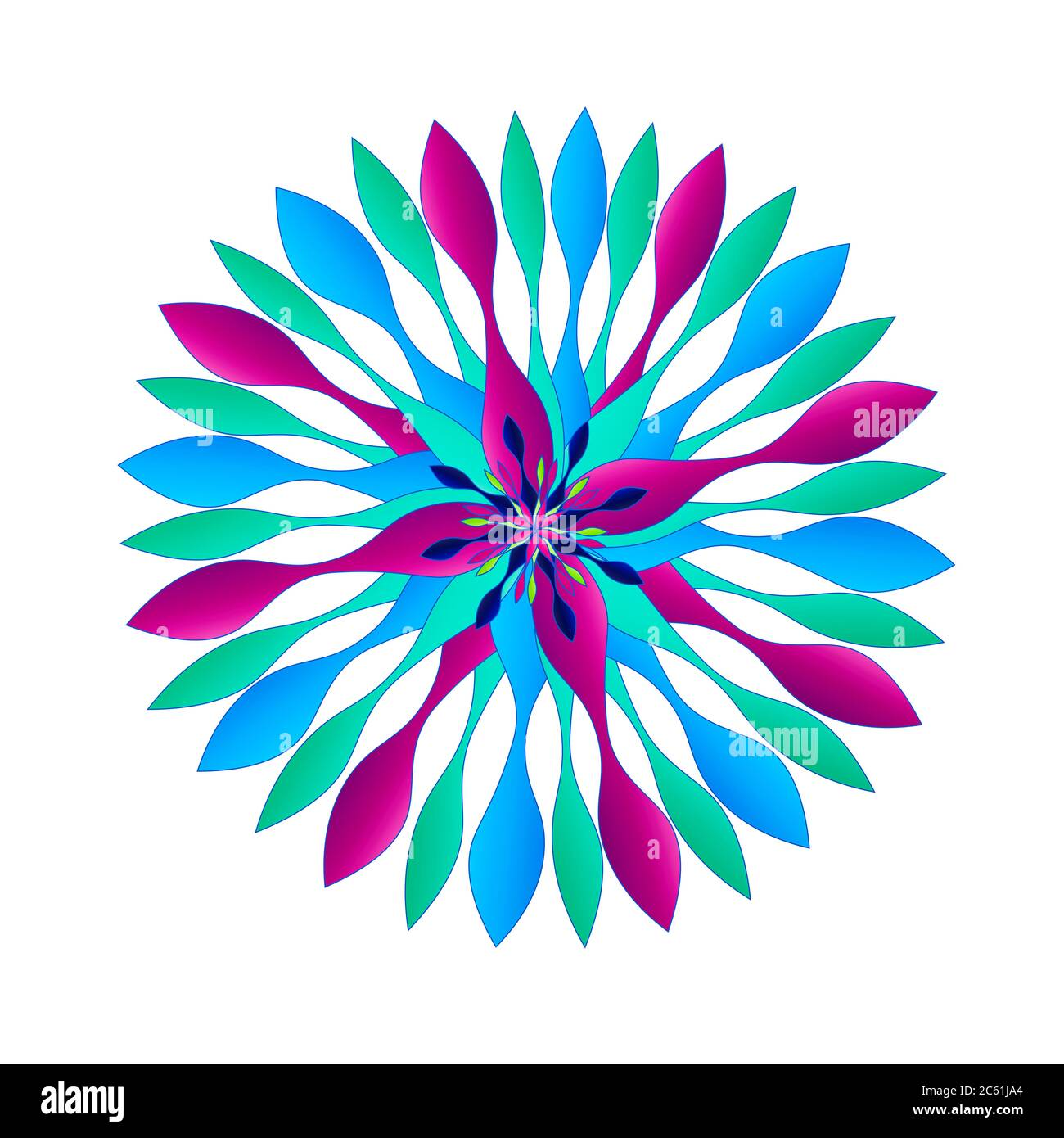 Beautiful graphic Spinner-like design Motifs in a unique colorful scheme of colors including purple, aqua teal and blues.  Some with borders. Stock Photo