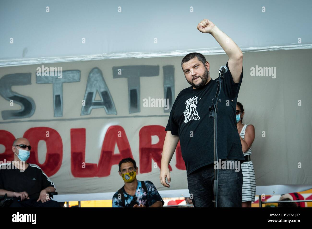 """Italian rapper Kento, at """"Stati Popolari"""", event organized in Piazza San Giovanni, in Rome, Italy, by Aboubakar Soumahoro, Italian-Ivorian trade unionist of the Agricultural Coordination of the Union of Base Union (USB) Stock Photo"""