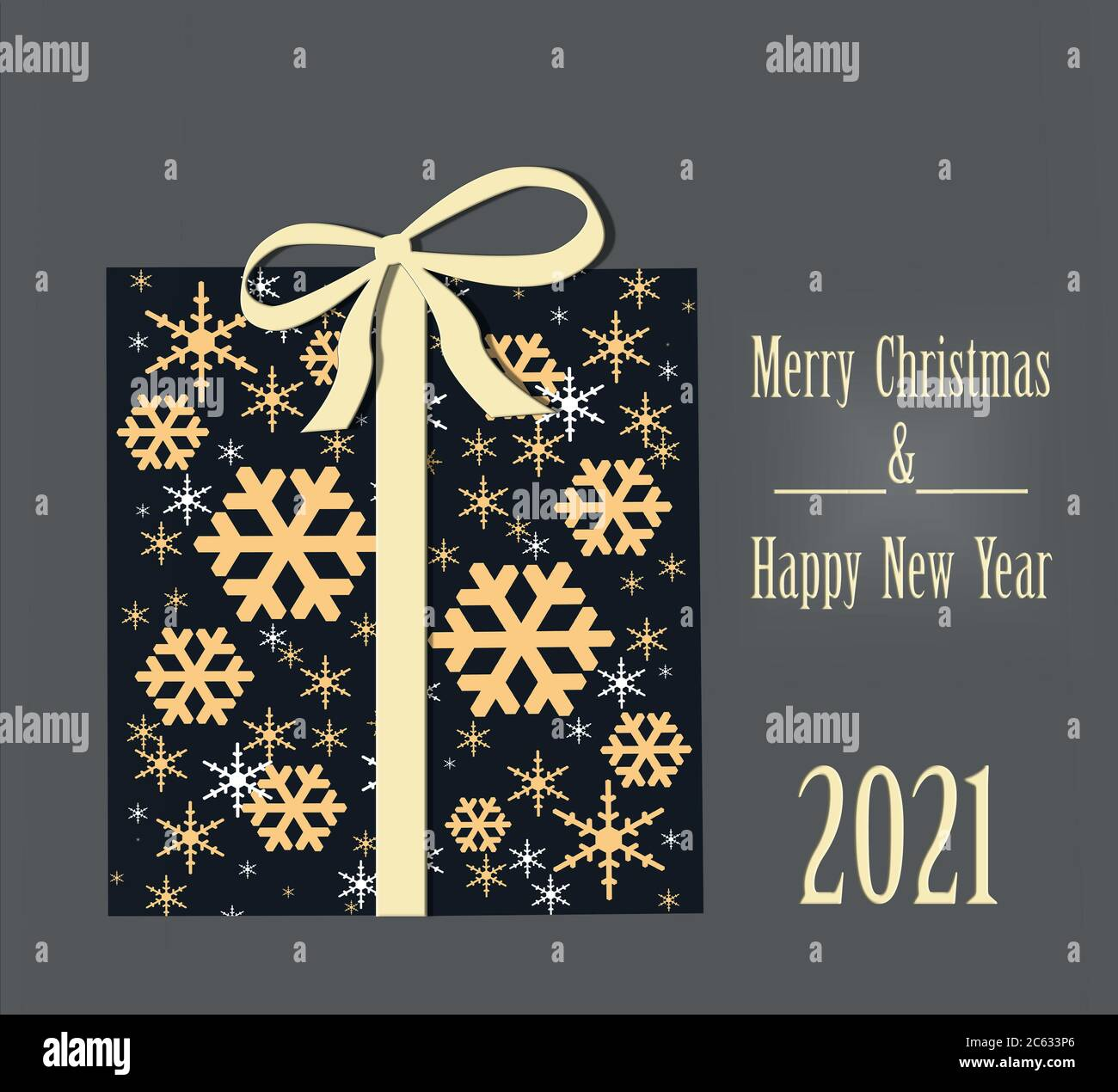 Merry Christmas 2021 Pictures Gray Luxury Christmas Greeting Card Concept With Gold Words Merry Christmas And 2021 Happy New Year Abstract Wrapped Gift Box With Golden Snowflakes On Dark Background 3d Illustration Stock Photo Alamy
