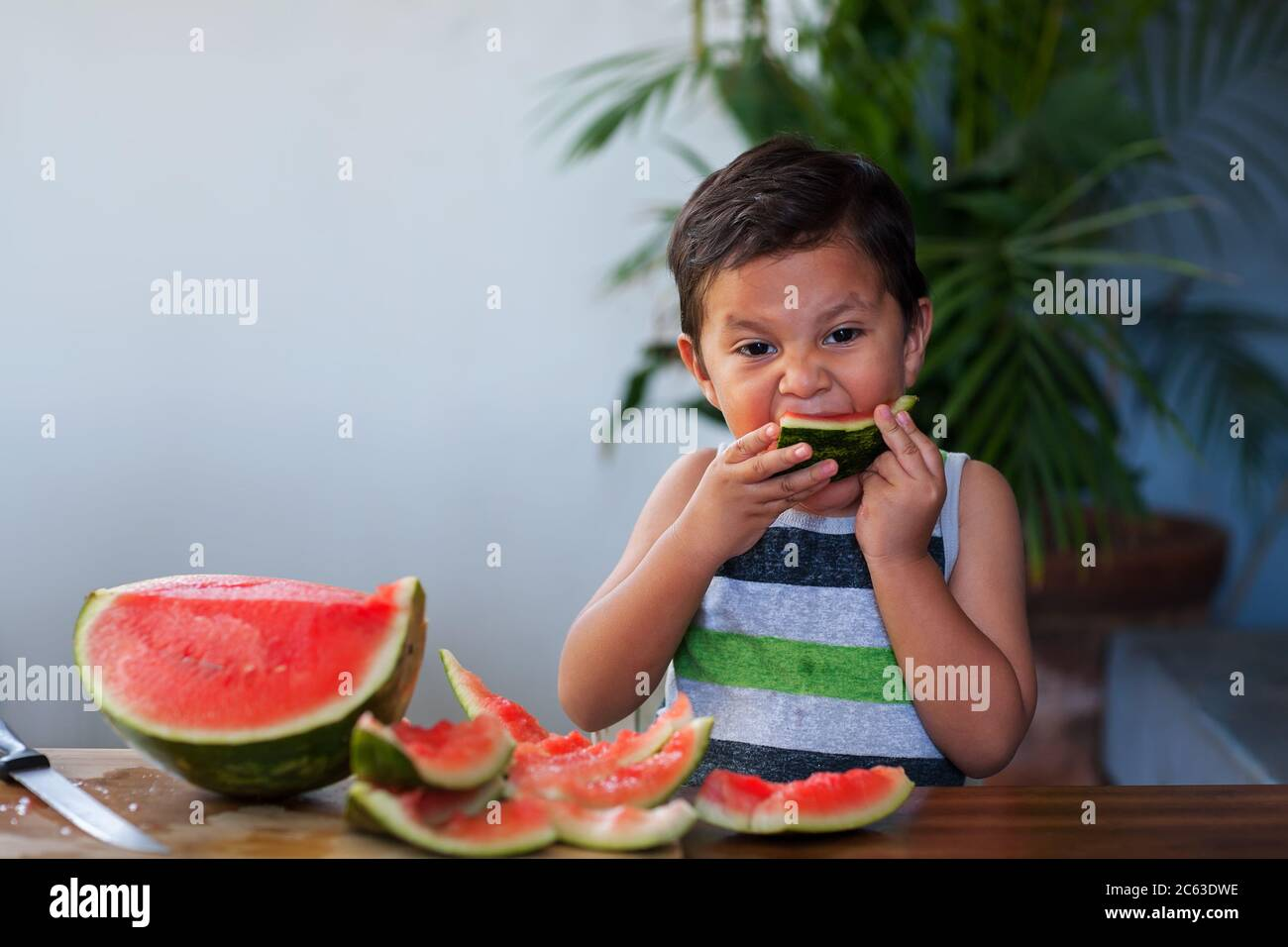 Young boy taking a bite from a slice of watermelon he holds to his mouth during summer. Stock Photo