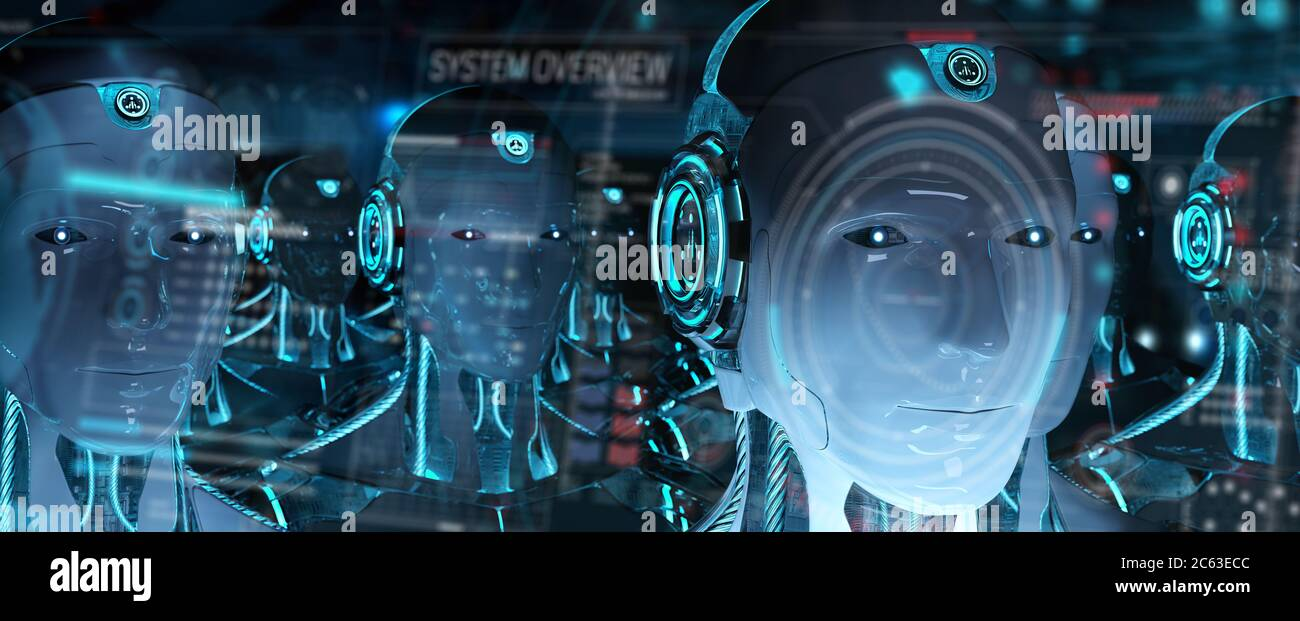 Group of male robots heads using digital hologram screens interface 3d rendering Stock Photo