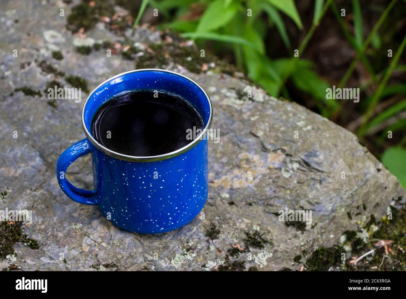 Black Coffee In A Classic Blue Enamel Camping Mug On A Stone In The Woods Stock Photo Alamy