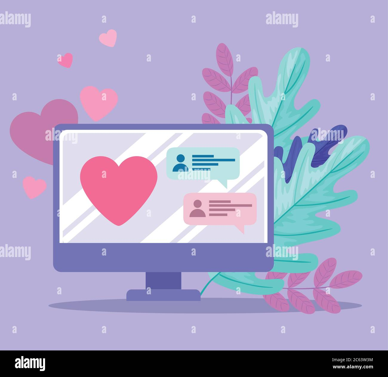 online dating service application, computer with heart, chat looking for couple, social media, virtual relationship communication concept Stock Vector