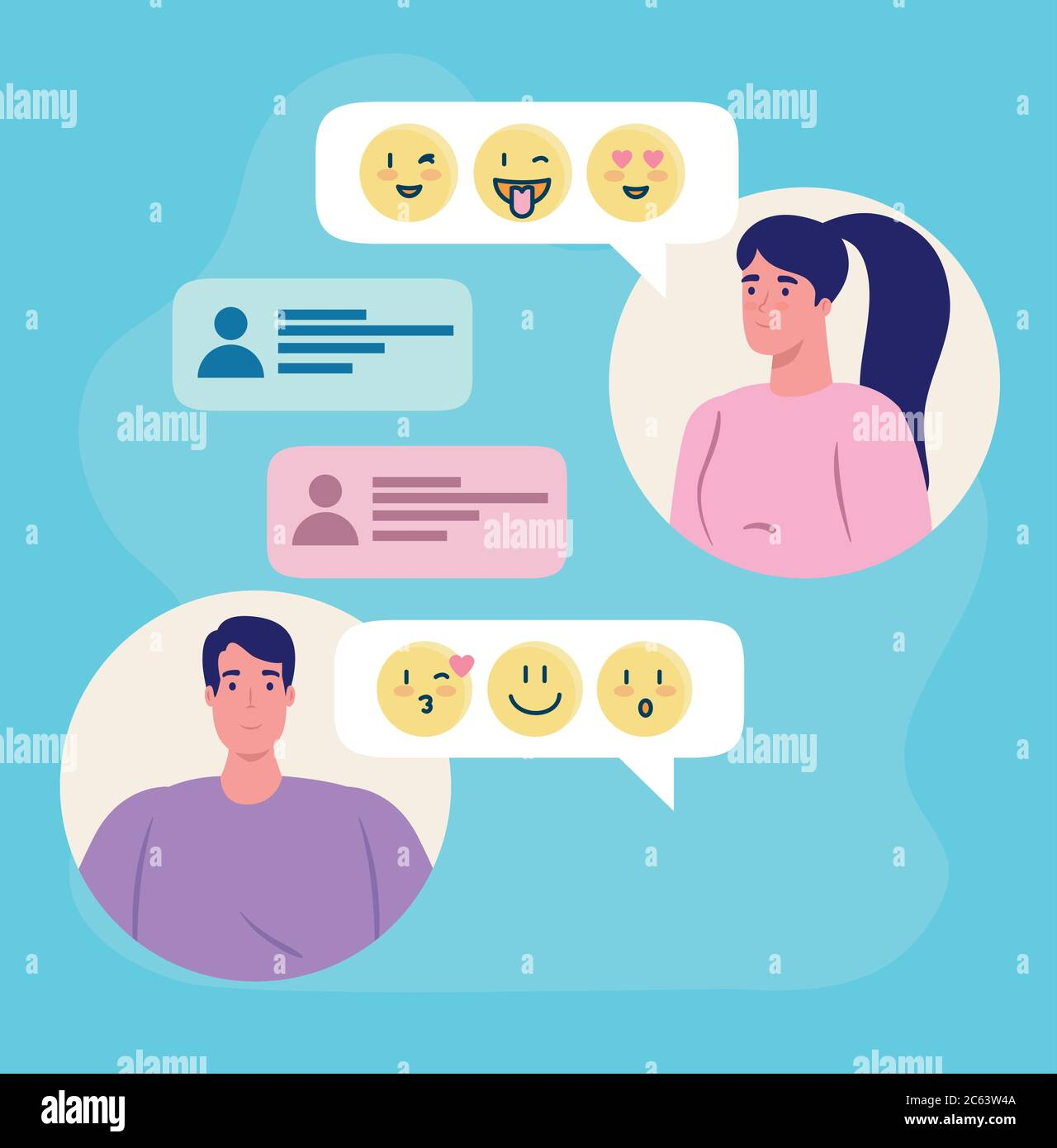 online dating service application, chat of woman and man with emojis, modern people looking for couple, social media, virtual relationship Stock Vector