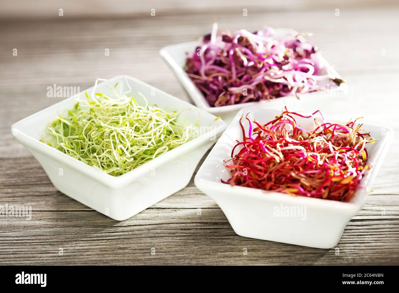 beetroot, radish and alfalfa sprouts in china bowls on wooden table Stock Photo