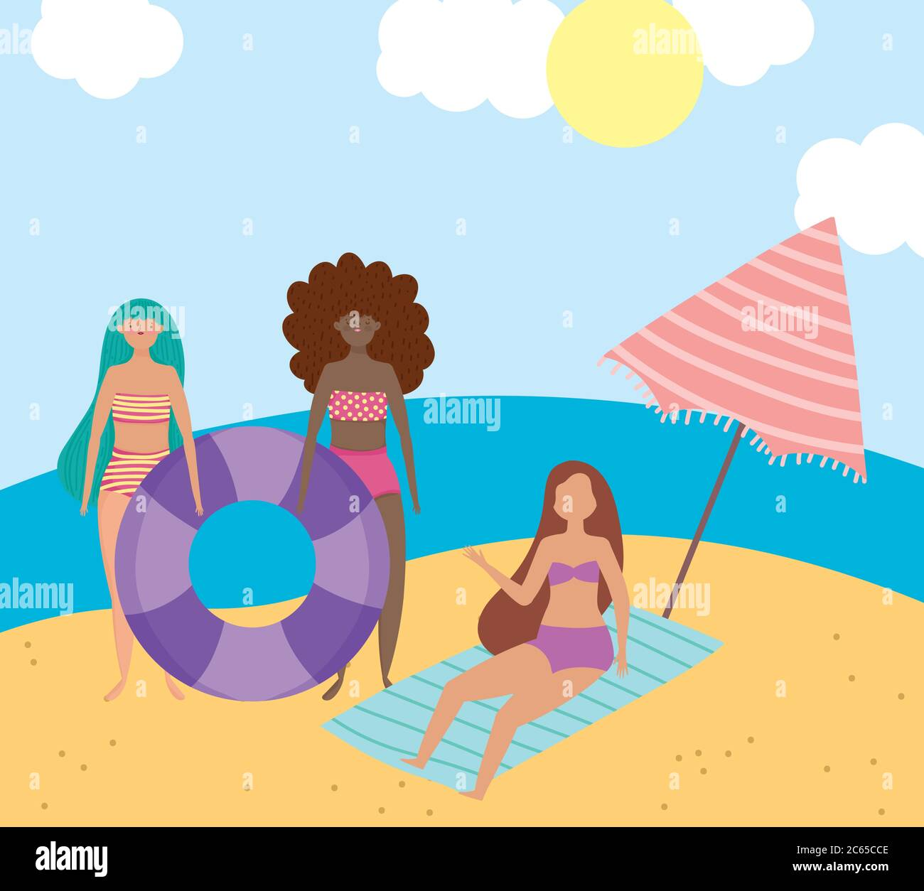 summer people activities, group girls with float umbrella and towel in the beach, seashore relaxing and performing leisure outdoor vector illustration Stock Vector