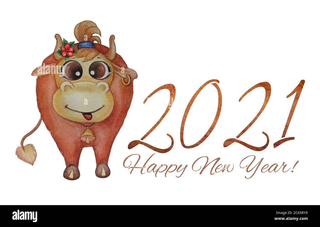 cute cow horizontal poster happy new year 2021 funny brown cow with an earring in his ear and a bell on his neck watercolor on a white background stock photo alamy https www alamy com cute cow horizontal poster happy new year 2021 funny brown cow with an earring in his ear and a bell on his neck watercolor on a white background image365234221 html
