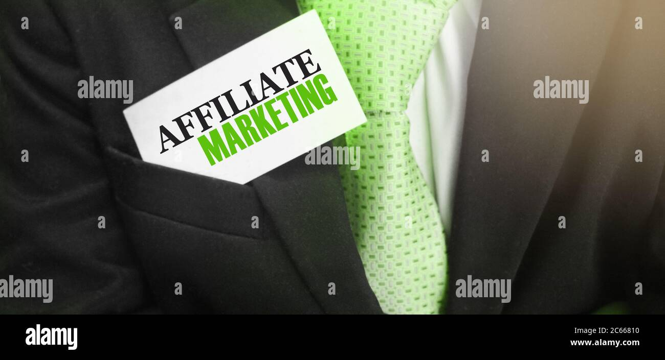 Affiliate Marketing words on card in upper suit pocket. Business concept Stock Photo