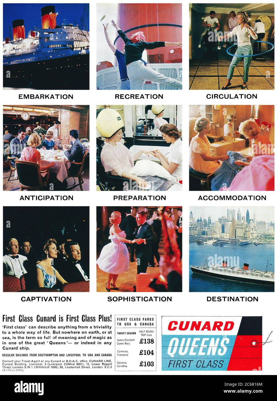 1963 British advertisement for the Cunard shipping line. Stock Photo