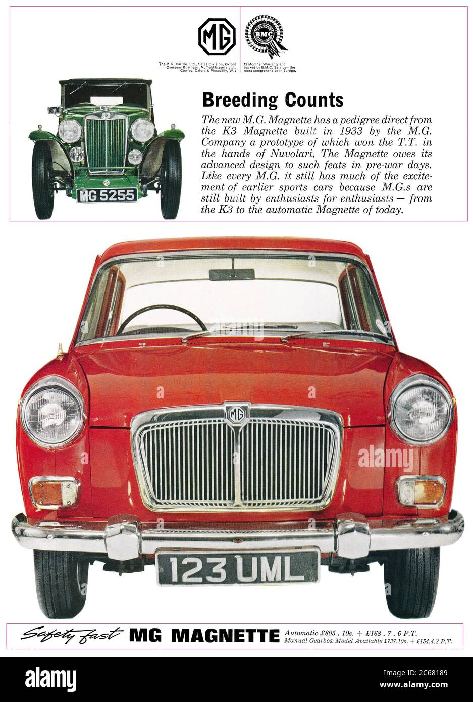 1964 British advertisement for the MG Magnette motor car. Stock Photo