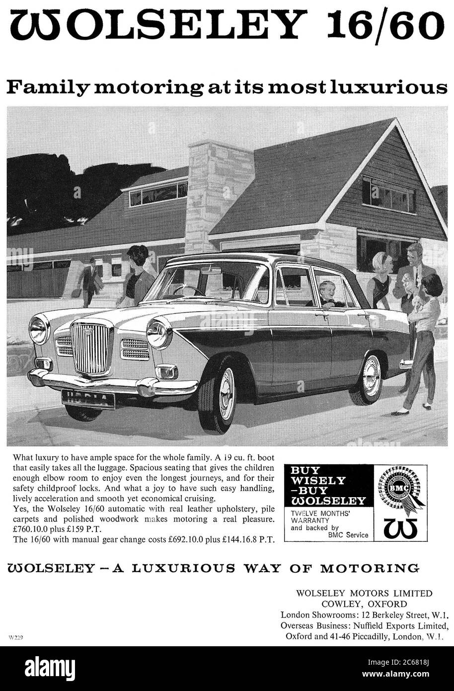 1964 British advertisement for the Wolseley 16/60 motor car. Stock Photo