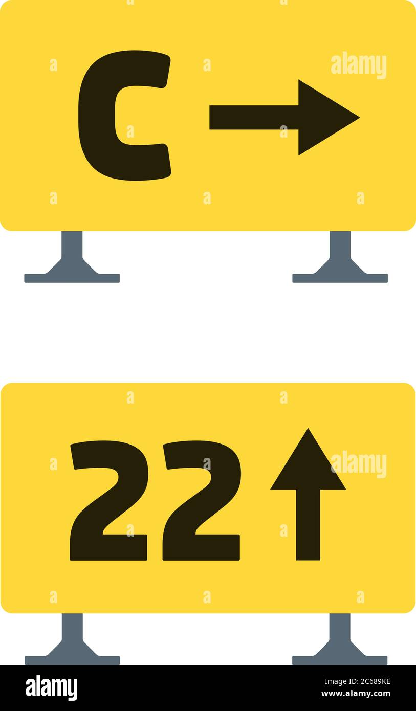 Signs on the runway vector flat material design isolated object on white background. Stock Vector