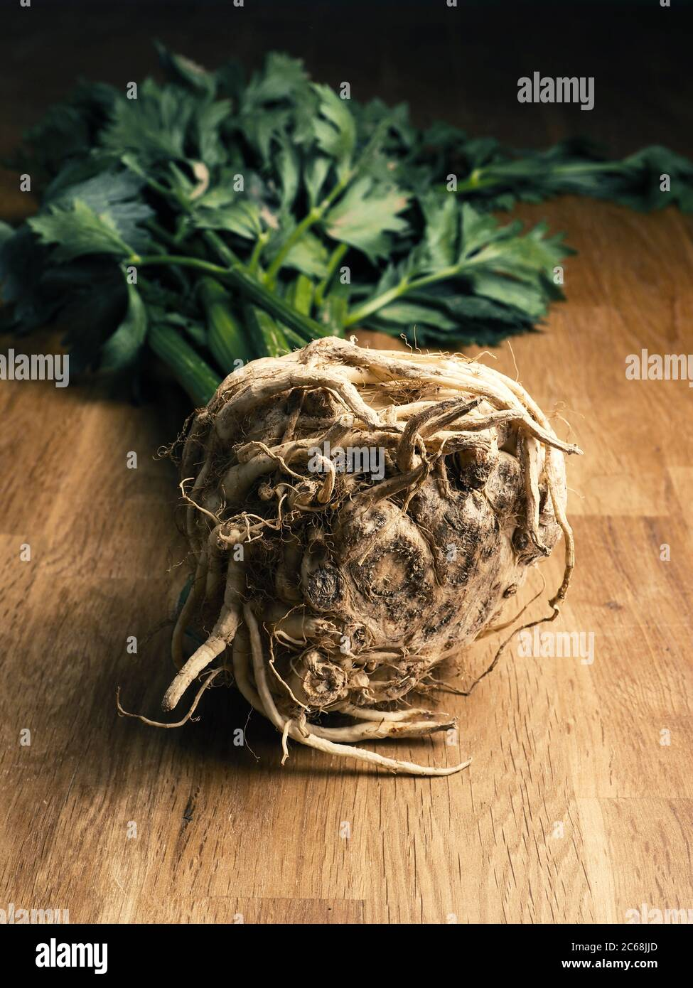 A sandy celeriac on a rustic oak kitchen table, concept for natural healthy eating Stock Photo
