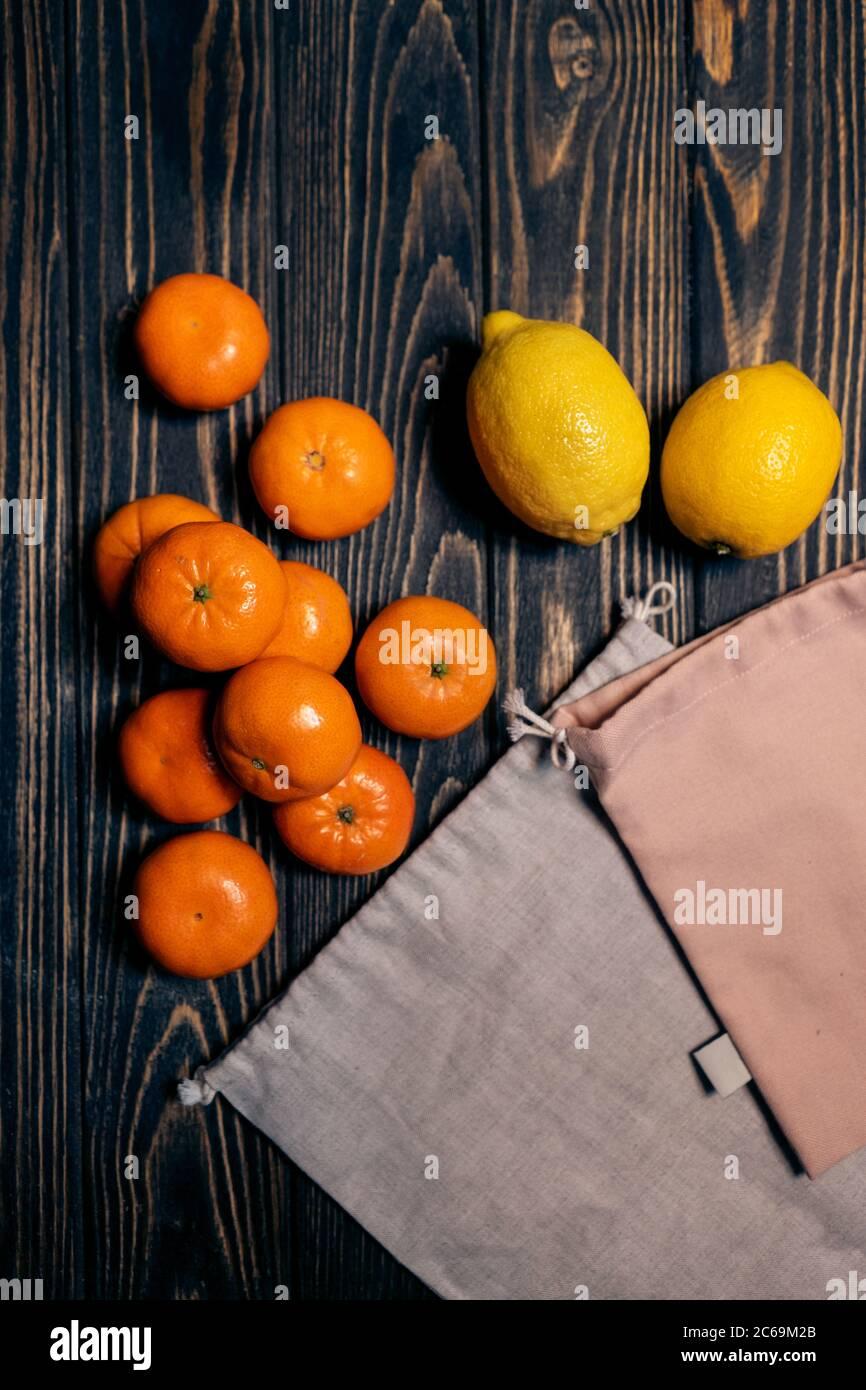 zero waste cotton eco friendly bags for food, plastic free Stock Photo