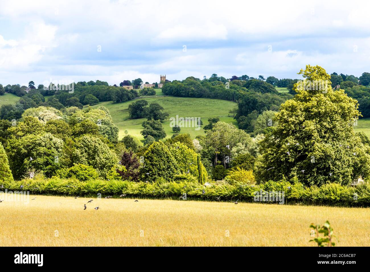 A long shot of the hilltop Cotswold town of Stow on the Wold, Gloucestershire UK Stock Photo