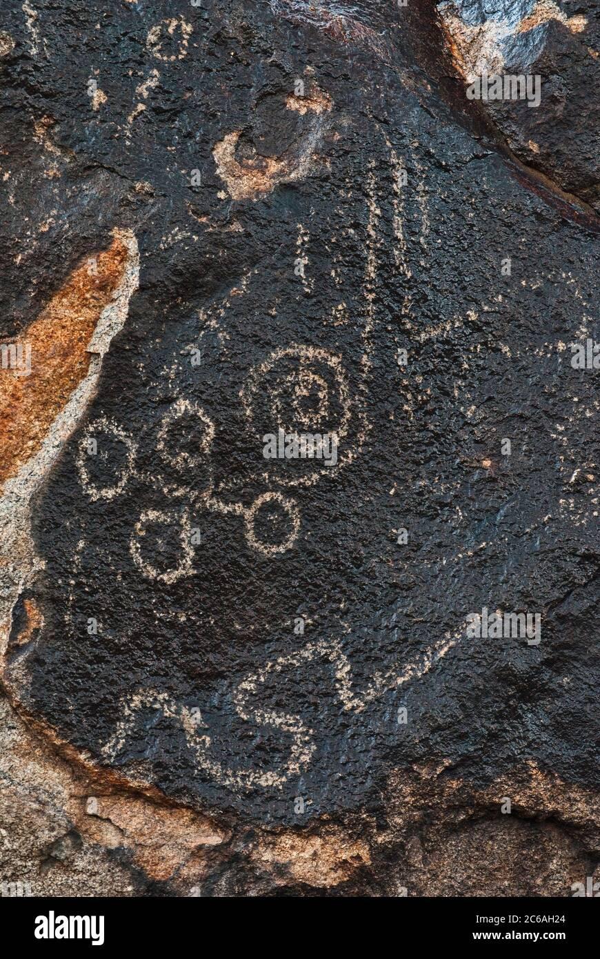 Wet petroglyphs on rainy day in Picacho Mountains, Sonoran Desert, Arizona, USA Stock Photo