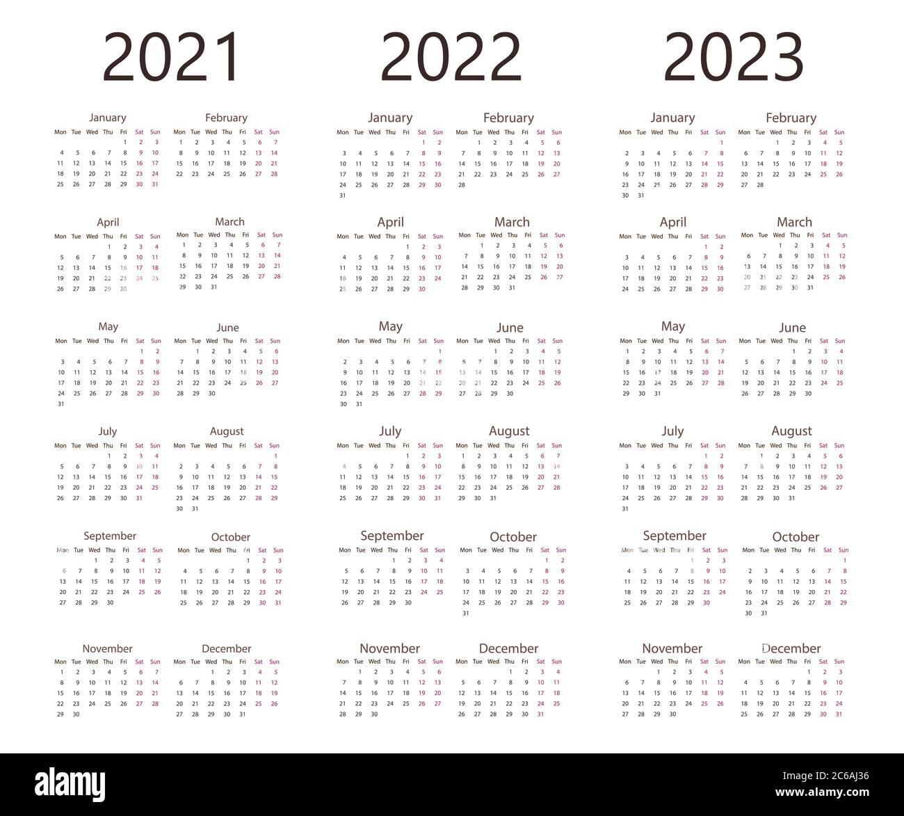 Monthly Calendar 2022 2023.2021 2022 2023 Calendar Week Monday Vector Illustration Flat Design Stock Vector Image Art Alamy