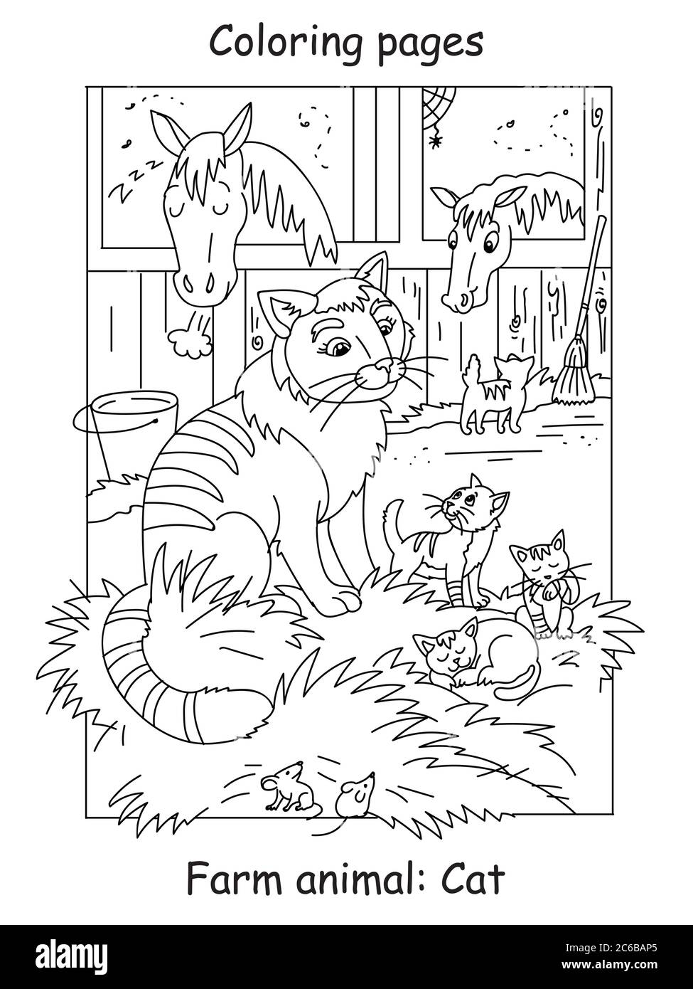Vector Coloring Pages With Cute Cat And Little Kittens On The Farm Cartoon Contour Illustration Isolated On White Background Stock Illustration For Stock Vector Image Art Alamy