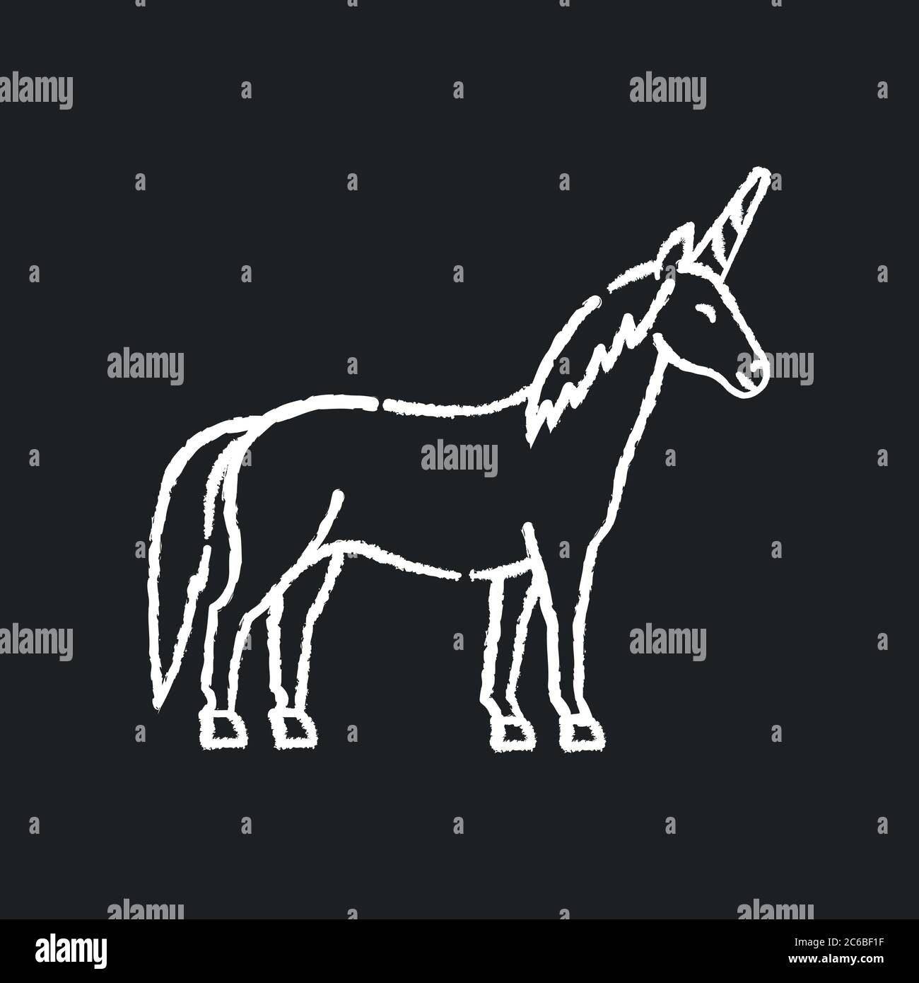 Unicorn Chalk White Icon On Black Background Mythical Creature Fairy Tale Animal Mascot Childish Fantasy Animal Kids Fable Magical Horse With Hor Stock Vector Image Art Alamy