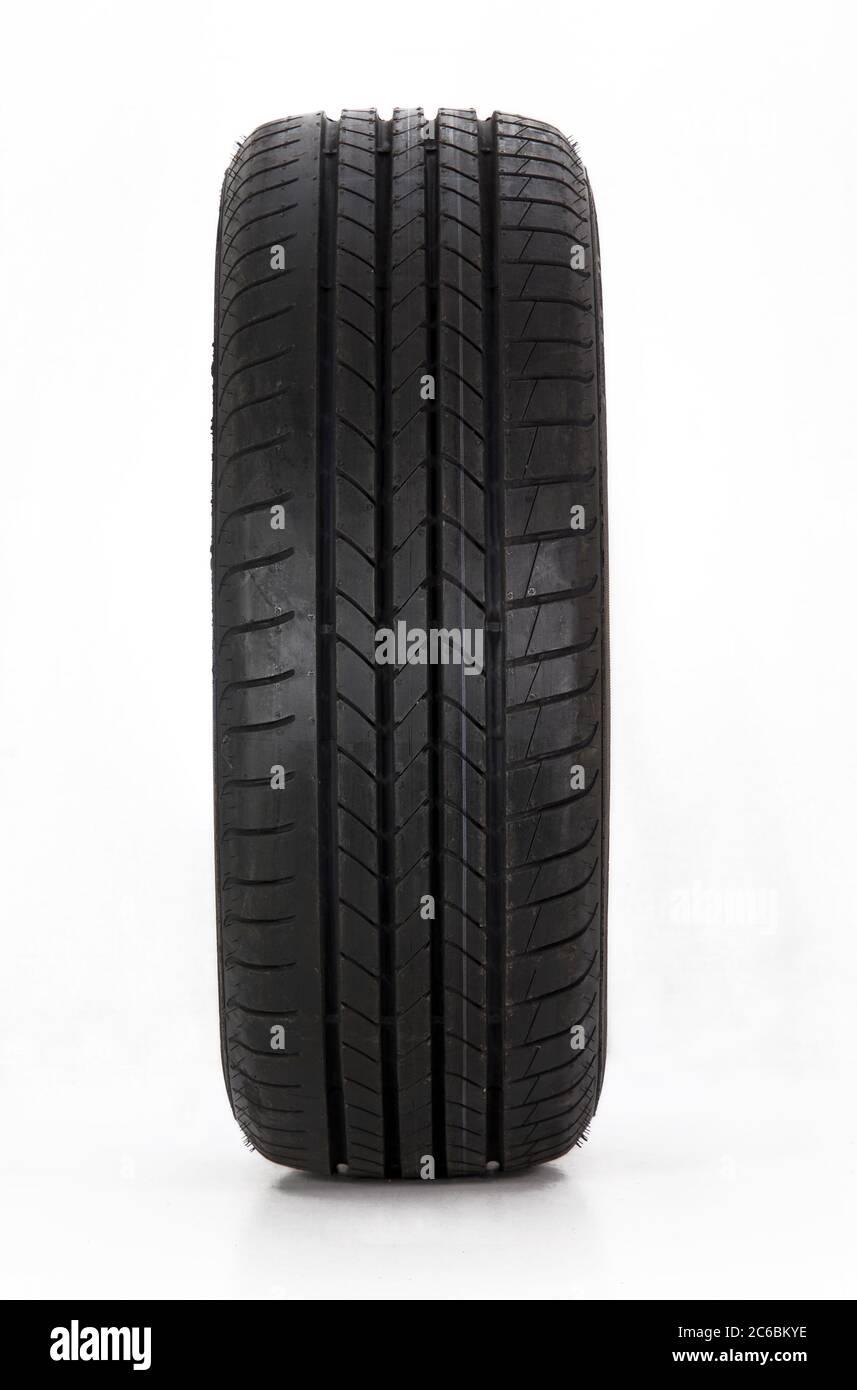 summer car tire, Brand new modern summer sports car tire Stock Photo