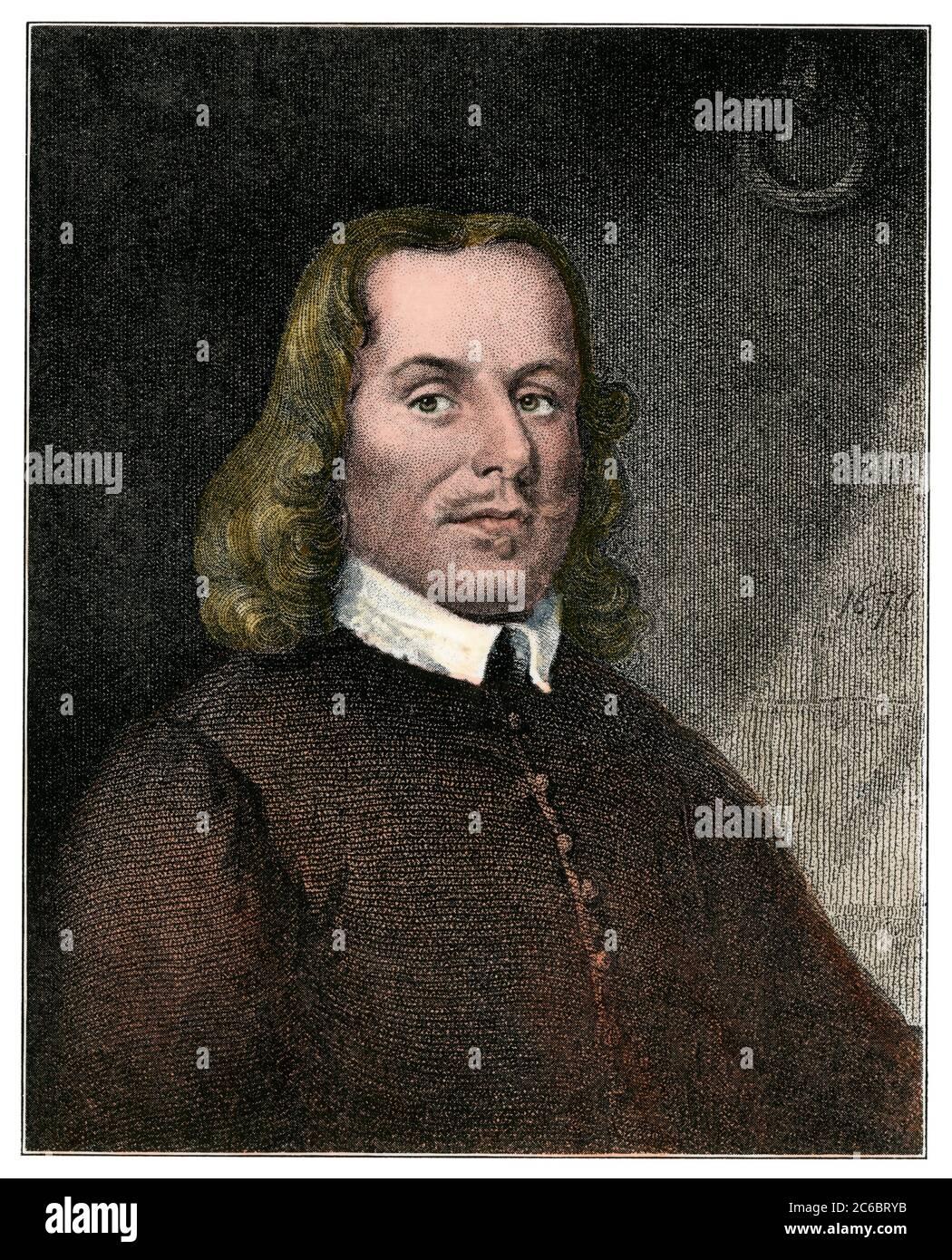 John Bunyan, author of The Pilgrim's Progress. Hand-colored halftone of an illustration Stock Photo