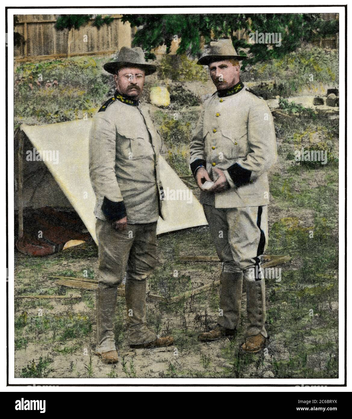 Col. Theodore Roosevelt and Gen. Leonard Wood in camp in San Antonio TX, 1898. Hand-colored halftone of a photograph Stock Photo