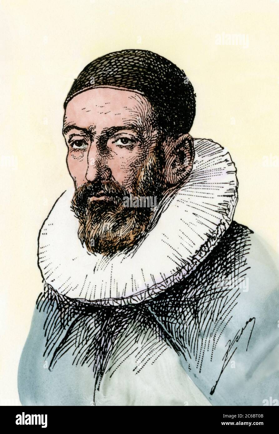 John Napier (or Neper), discoverer of logarithms. Hand-colored woodcut Stock Photo