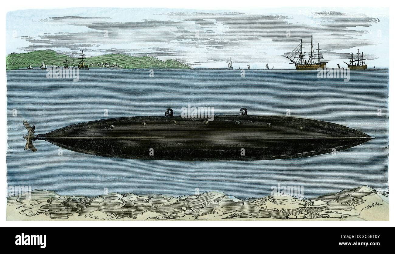 Submarine invented by Lodner Phillips, 1860. Hand-colored woodcut Stock Photo