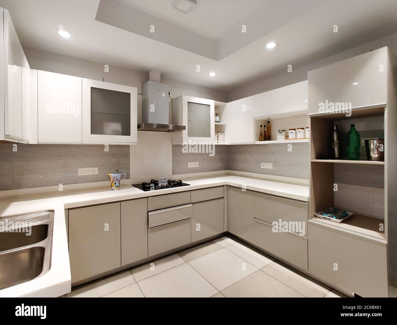 Image of: Wide Angle Shot Of A Modern Modular Kitchen With Inset Lights And Cabinets Stock Photo Alamy