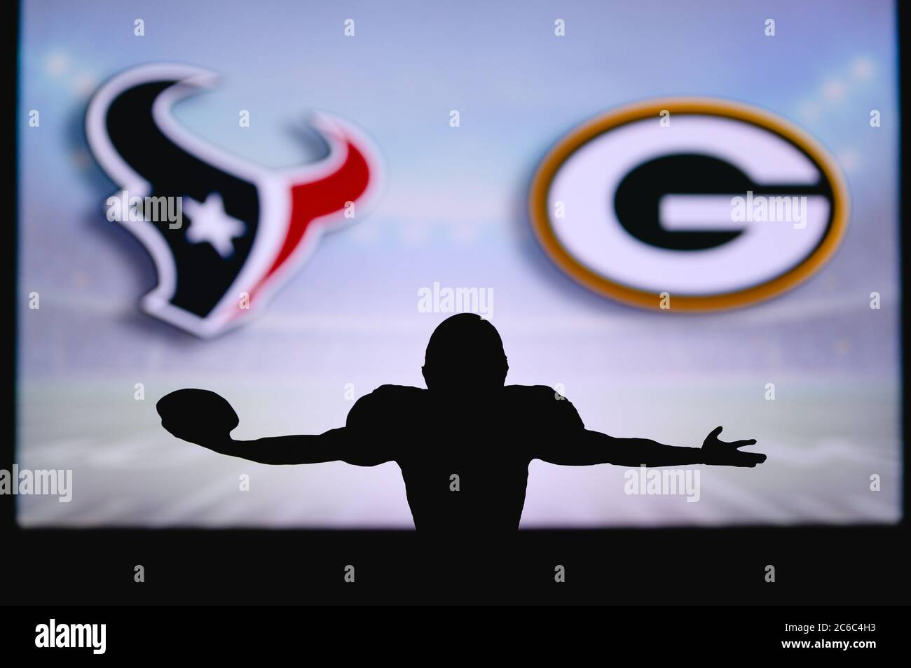 Houston Texans Vs Green Bay Packers Nfl Game American Football League Match Silhouette Of Professional Player Celebrate Touch Down Screen In Back Stock Photo Alamy