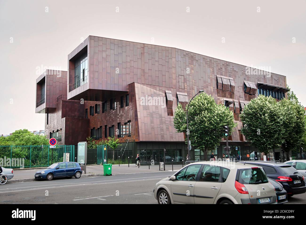 Paris, France - June 18, 2015: The Conservatoire Claude Debussy, municipal conservatory of music, dance and dramatic arts. New modern Architecture of Stock Photo