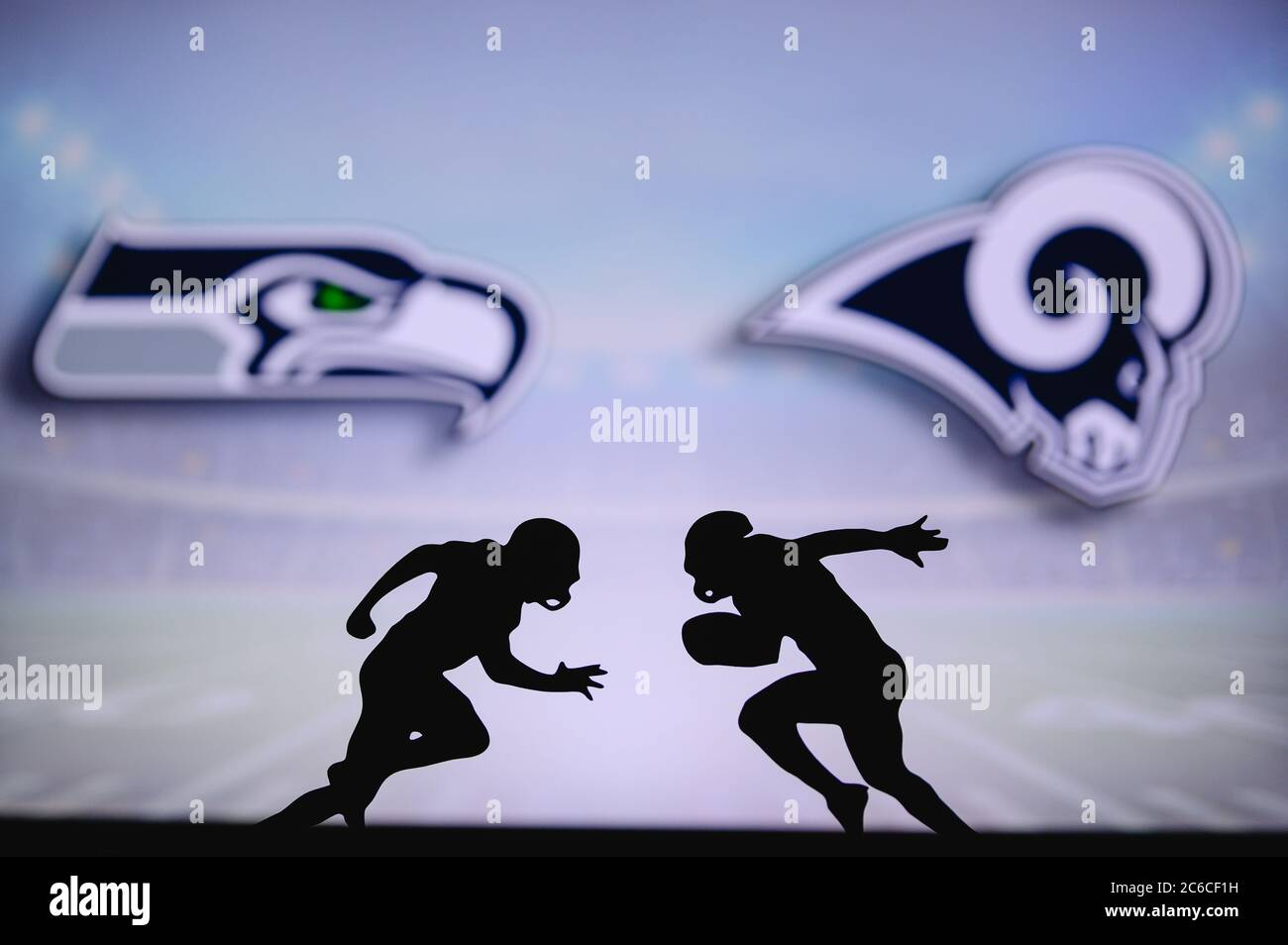 Seattle Seahawks Vs Los Angeles Rams Nfl Match Poster Two American Football Players Silhouette Facing Each Other On The Field Clubs Logo In Backgr Stock Photo Alamy